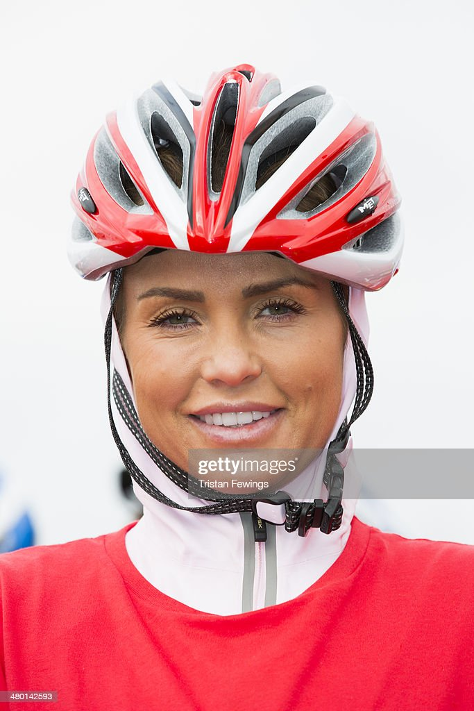 Katie Price poses at the starting line of the Sainsbury's Sport Relief cycle challenge at Queen Elizabeth Olympic Park on March 23, 2014 in London, England.