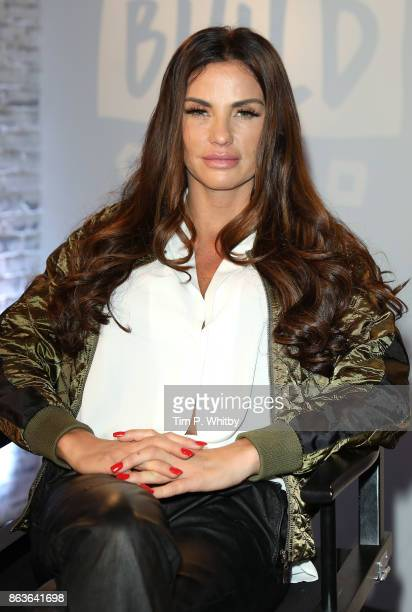 Katie Price poses for a photo after a discussion about her new book 'Playing with Fire' and her career at BUILD London on October 20, 2017 in London,...