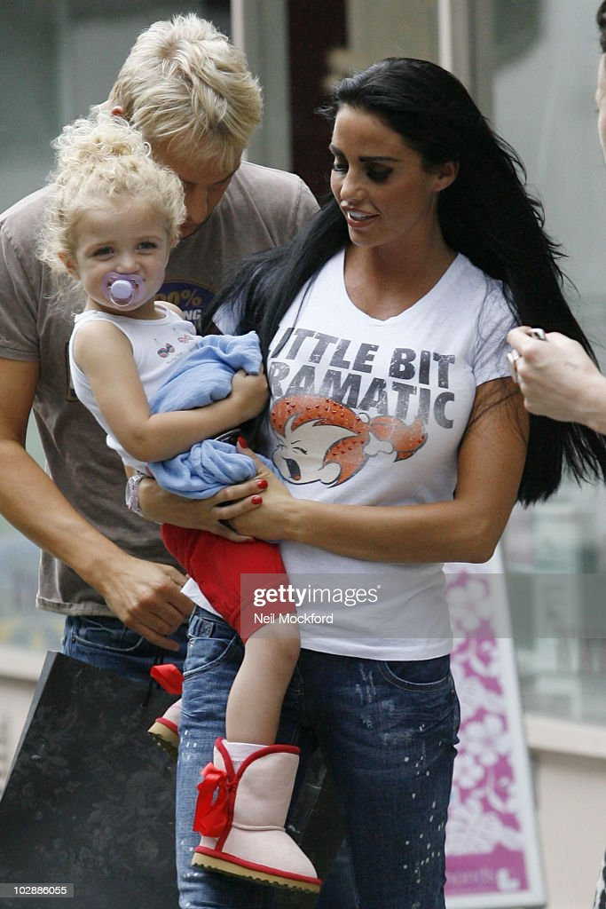 Katie Price sighted leaving an office with daughter Princess Tiaamii on July 14, 2010 in London, England.