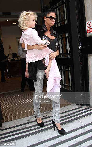 Katie Price sighted leaving BBC radio two on July 22 2010 in London England