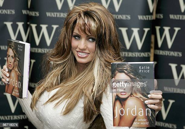 Katie Price signs copies of today's publication of her updated autobiography Jordan A Whole New World formerly called Being Jordan at Waterstone's...
