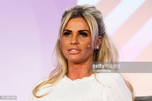 Katie Price speaks at the Festival of Marketing at Tobacco Dock on October 6 2016 in London England