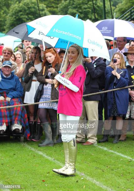 Katie Price takes part in the Rundle Cup at Tidworth Polo Club on July 14 2012 in Tidworth Wiltshire