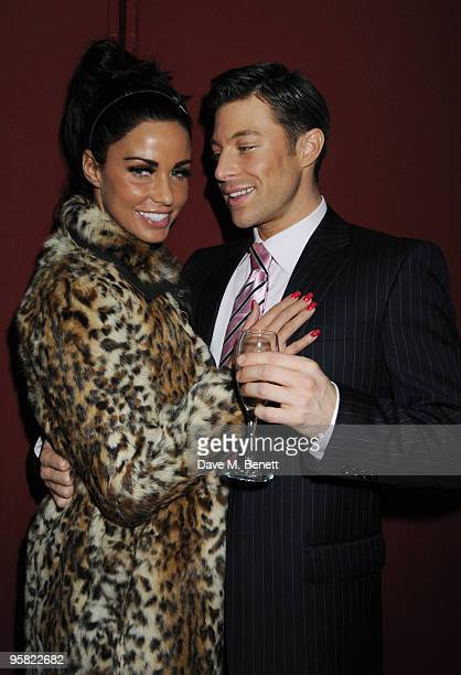 Katie Price visits Duncan James backstsage during the curtain call for Legally Blonde at the Savoy Theatre on January 15 2010 in London England