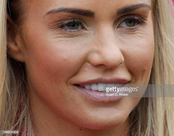 Katie Price watches the Rundle Cup at Tidworth Polo Club on July 14 2012 in Tidworth Wiltshire