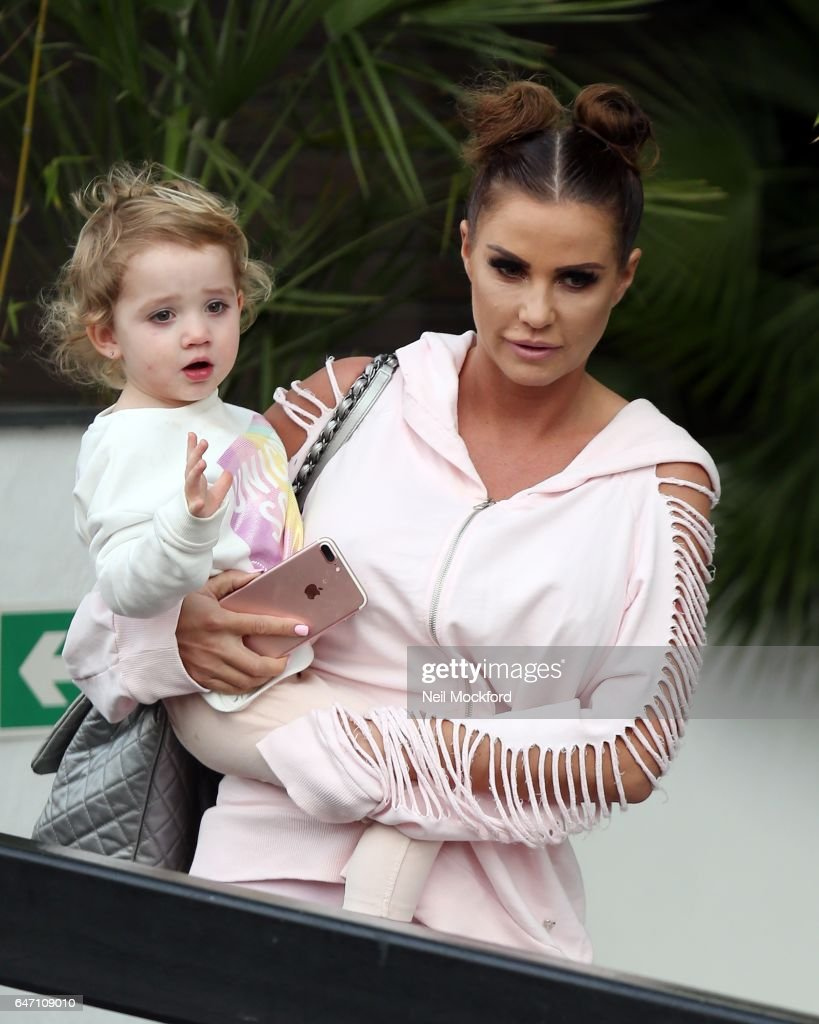 Katie Price with her daughter Bunny, seen leaving the ITV Studios after appearing on Loose Women on March 2, 2017 in London, England.