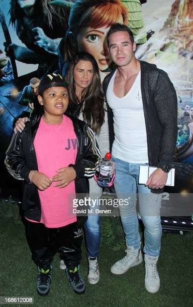 Katie Price with her son Harvey and husband Kieran Hayler attends the Gala Screening of 'Epic' at Vue West End on May 12 2013 in London England