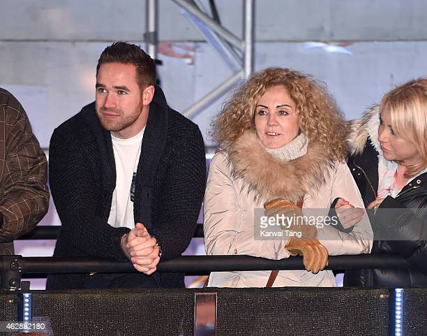 Katie Price's husband Kieran Hayler and mother Amy Price attend the final of Celebrity Big Brother at Elstree Studios on February 6 2015 in...