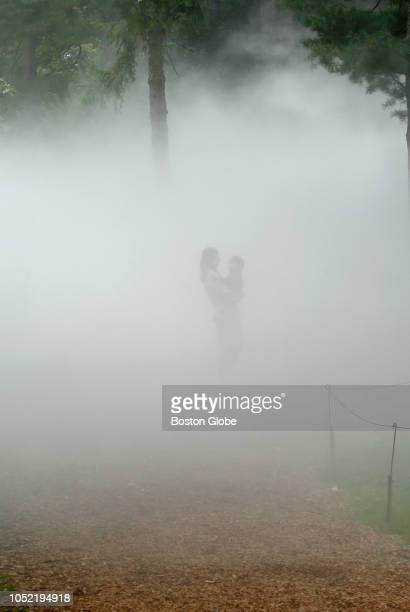 Katie Przystup of Medford holds her son Alex as they walk through the Fog x Hill installation by Fujiko Nakaya at the Arnold Arboretum in the Jamaica...