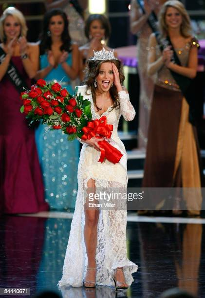 Katie R Stam Miss Indiana reacts after being crowned Miss America during the 2009 Miss America Pageant at the Planet Hollywood Resort Casino January...