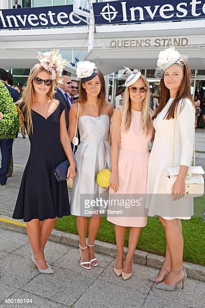 Katie Readman Lavinia Brennan Martha Ward and Lady Natasha Rufus Isaacs attend Ladies Day at the Investec Derby Festival at Epsom Downs Racecourse on...