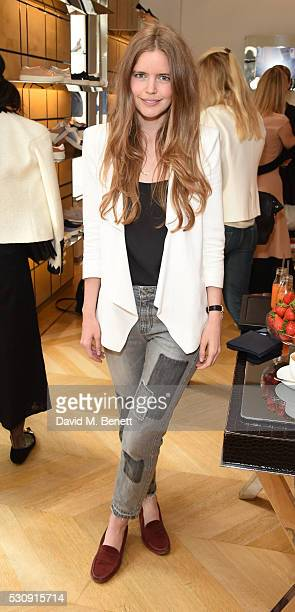 Katie Redman attends a champagne breakfast hosted by Sophie Goodwin to celebrate 'The Art of Tod's Customisation' at Tod's Sloane Street Boutique on...