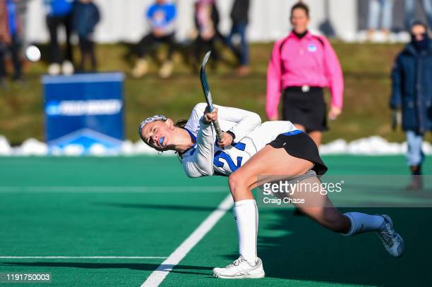 Katie Roper of Franklin Marshall attempts a pass during the Division III Women's Field Hockey Championship held at Spooky Nook Sports on November 24...