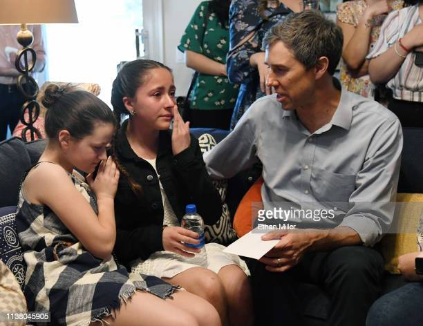 Katie Rosenblum of Nevada comforts her friend Karola Garcia of Nevada who wipes away tears as she gives a letter to and speaks with Beto O'Rourke...