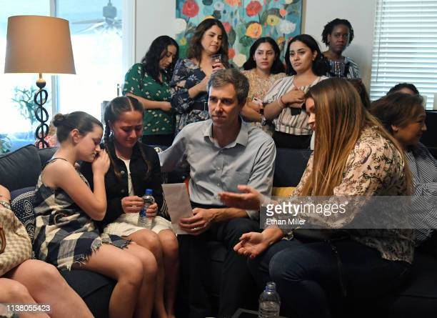 Katie Rosenblum of Nevada comforts her friend Karola Garcia of Nevada as she gives a letter to and speaks with Beto O'Rourke with her sister Karla...