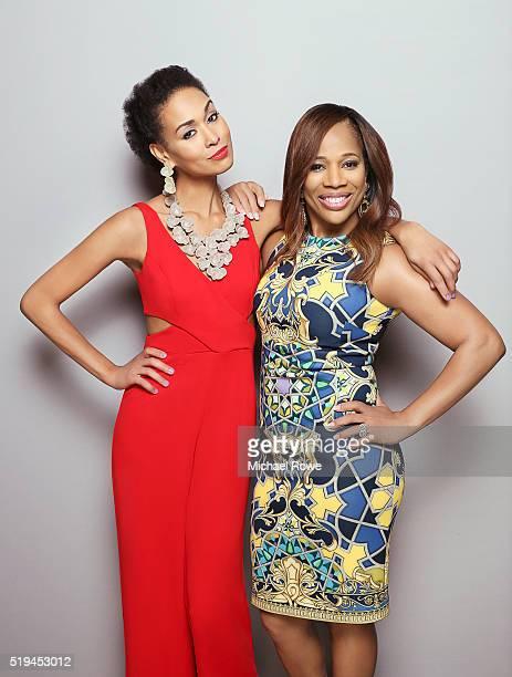 Katie Rost and Charisse Jackson Jordan are photographed at the 2016 Black Women in Hollywood Luncheon for Essencecom on February 25 2016 in Los...