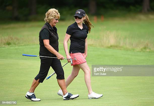 Katie Rule and Margaret Richardson of Mullion Golf Club chat during the WPGA Lombard Trophy National ProAm South Regional Qualifier at Camberley...