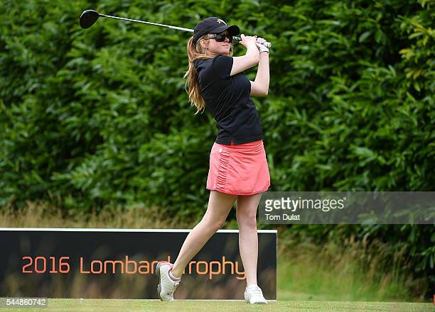 Katie Rule of Mullion Golf Club tees off from the 1st hole during the WPGA Lombard Trophy National ProAm South Regional Qualifier at Camberley Heath...