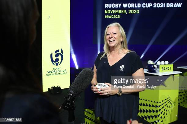 Katie Sadleir speaks to media during the Rugby World Cup 2021 Draw event at the SKYCITY Theatre on November 20, 2020 in Auckland, New Zealand.