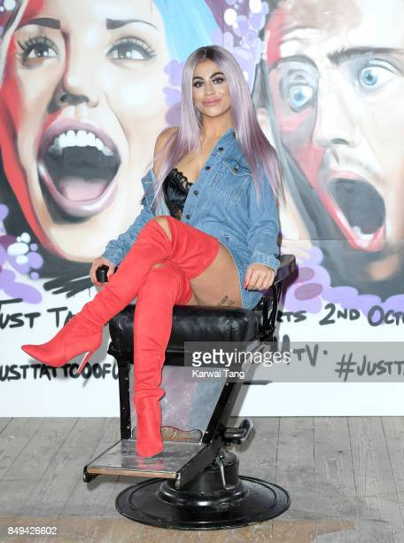 Katie Salmon attends a photocall for 'Just Tattoo Of Us Can You Deal With The Reveal' popup tattoo parlour on September 19 2017 in London United...