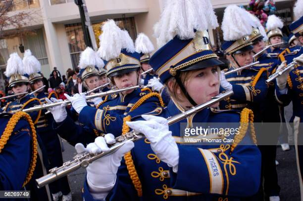 Katie Shotwell plays the flute as she performs with the A.J. DuPont High School Marching Band of Wilmington, Delware during Philadelphia's 86th...