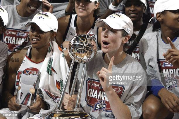 Katie Smith of the 2006 WNBA Champion Detroit Shock celebrate after winning Game Five of the WNBA Finals 80 to 75 against the Sacramento Monarchs...