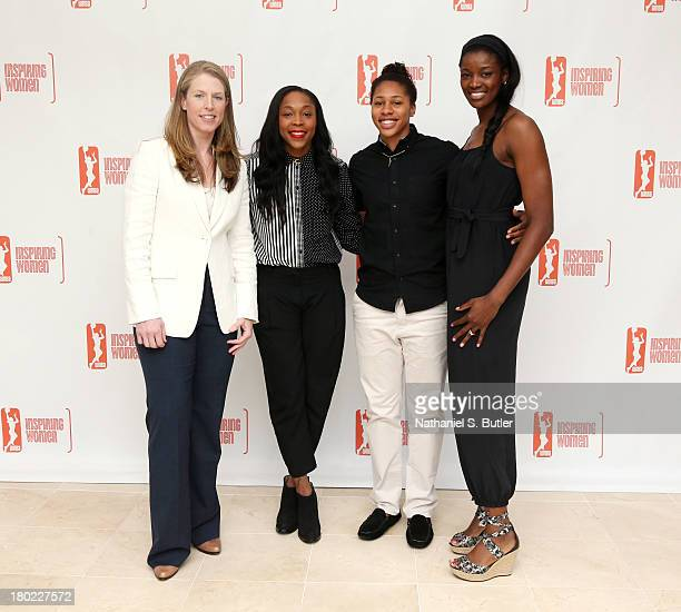 Katie Smith Alex Montgomery Cappie Pondexter and DeLisha MiltonJones of the New York Liberty pose for a picture at the 2013 WNBA Inspiring Women's...