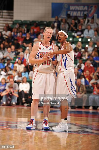 Katie Smith and Deanna Nolan of the Detroit Shock goes over the plan against the San Antonio Silver Stars during Game Three of the WNBA Finals on...