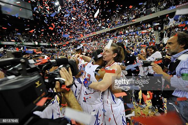 Katie Smith of the Detroit Shock celebrates after winning Game Three of the WNBA Finals against the San Antonio Silver Star on October 5 2008 at the...