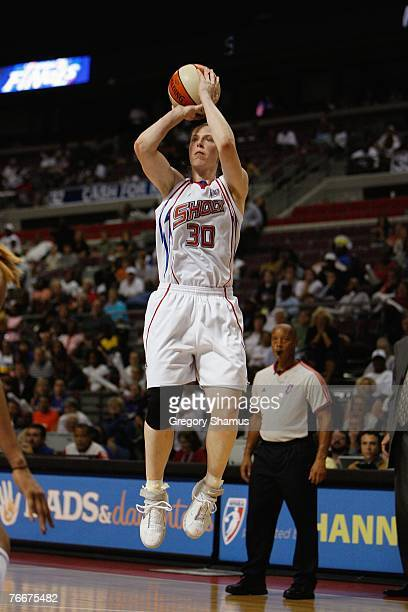 Katie Smith of the Detroit Shock takes a jump shot during Game One of the WNBA Finals against the Phoenix Mercury at the Palace of Auburn Hills on...