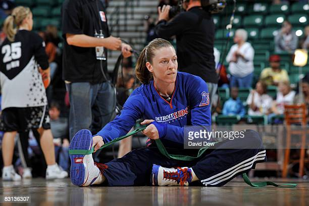 Katie Smith of the Detroit Shock warms up against the San Antonio Silver Stars for Game Three of the WNBA Finals on October 5 2008 at the Eastern...
