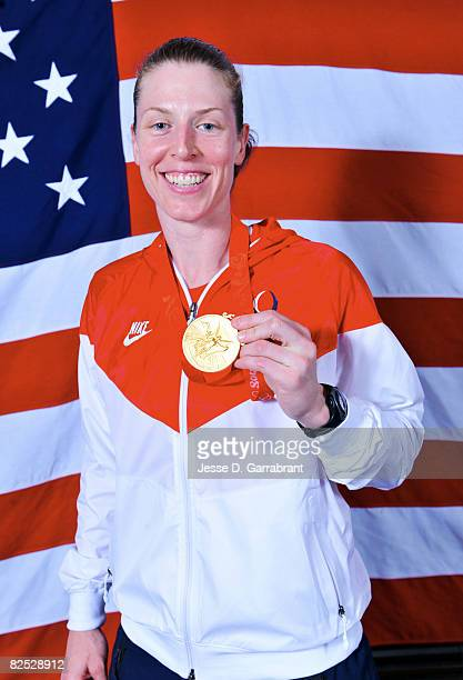 Katie Smith of the U.S. Women's Senior National Team poses for a portrait after winning the gold medal against Australia at the Beijing Olympic...