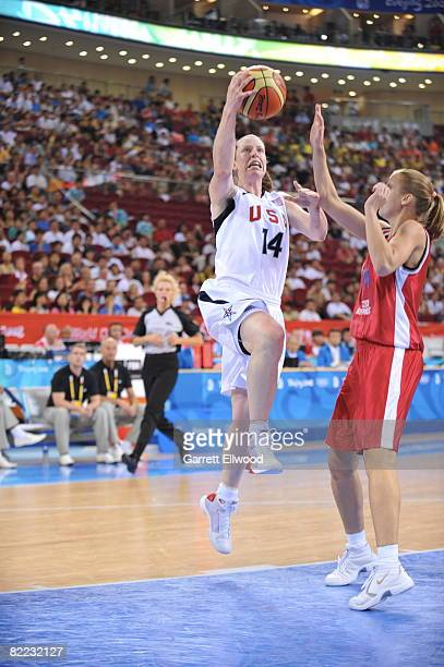 Katie Smith of the U.S. Women's Senior National Team shoots against Katerina Elhotova of the Czech Republic during day one of basketball at the 2008...