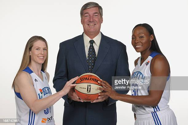 Katie Smith#30 Bill Laimbeer head coach and Cheryl Ford of the New York Liberty pose for a photo during WNBA Media Day on May 13 2013 at the Madison...