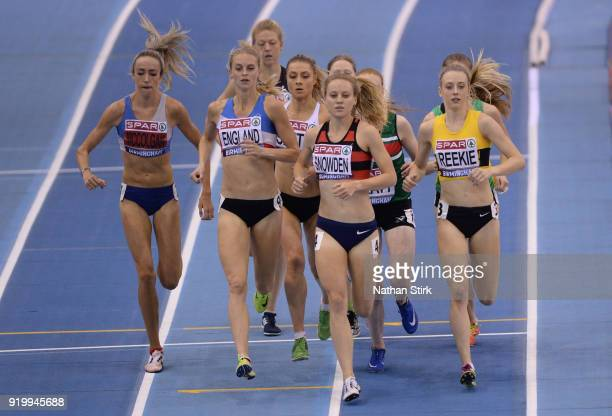 Katie Snowden of Herne Hill H competes in the women's 1500m final during day two of the SPAR British Athletics Indoor Championships at Arena...
