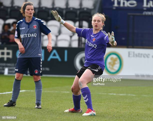 Katie Startup of Charlton Athletic Women during SSE Women's FA Cup quarter_final match between Arsenal against Charlton Athletic Women at Meadow Park...