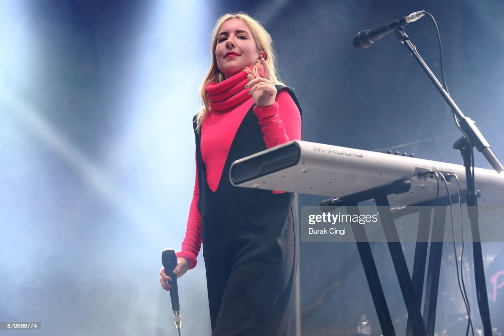 Katie Stelmanis of Austra performs at The Roundhouse on November 5, 2017 in London, England.