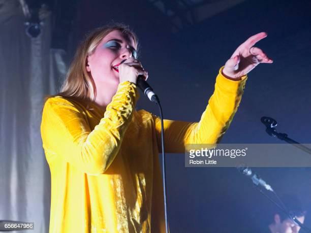 Katie Stelmanis of Austra performs at the Village Underground on March 22 2017 in London United Kingdom
