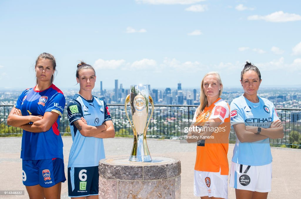 Katie Stengel of Newcastle Jets, Chloe Logarzo of Sydney FC, Tameka Butt of Brisbane Roar and Kyah Simon of Melbourne City pose for a photo during the official launch of the W-League Finals Series at Brisbane Lookout on February 5, 2018 in Brisbane, Australia.