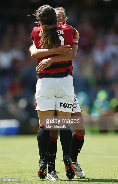 Katie Stengel of the Wanderers celebrates scoring a goal with team mate Paige Nielsen of the Wanderers during the round 13 WLeague match between the...