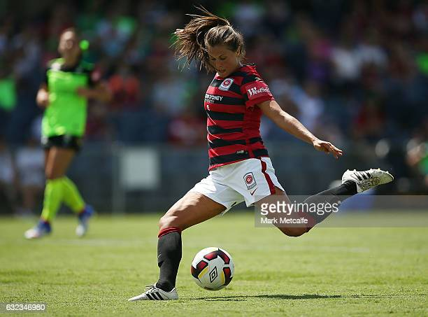 Katie Stengel of the Wanderers scores during the round 13 W-League match between the Western Sydney Wanderers and Canberra United at Campbelltown...