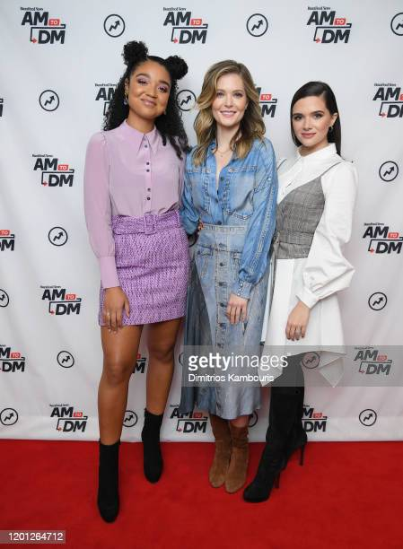 "Katie Stevens, Aisha Dee, and Meghann Fahy visit BuzzFeed's ""AM To DM""on January 22, 2020 in New York City."