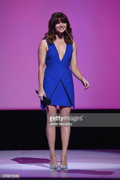 Katie Stevens speaks onstage at the MTV 2015 Upfront presentation on April 21 2015 in New York City