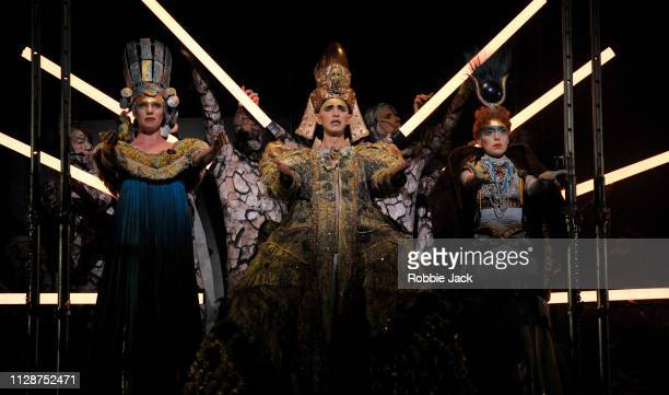 Katie Stevenson as Nefertiti Anthony Roth Costanzo as Akhnaten and Rebecca Bottone as Queen Tye in English National Opera's production of Philip...