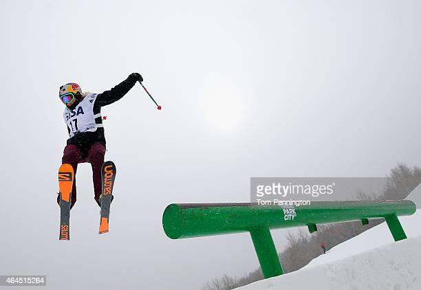 Katie Summerhayes of Great Britain competes during qualifying for the FIS Freeskiing World Cup 2015 Ladies' Freeskiing Slopestyle during the US Grand...