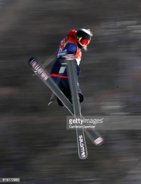 Katie Summerhayes of Great Britain competes during the Freestyle Skiing Ladies' Ski Slopestyle training on day eight of the PyeongChang 2018 Winter...