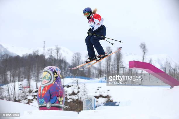 Katie Summerhayes of Great Britain competes during the Women's Slopestyle Skiing during day 4 of the Sochi 2014 Winter Olympics at Rosa Khutor...