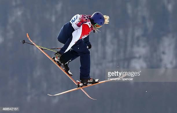 Katie Summerhayes of Great Britain competes in the Freestyle Skiing Women's Ski Slopestyle Qualification on day four of the Sochi 2014 Winter...