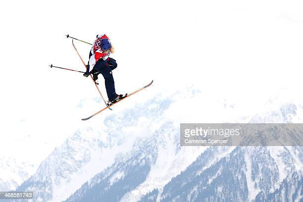 Katie Summerhayes of Great Britain competes in the Freestyle Skiing Women's Ski Slopestyle Finals on day four of the Sochi 2014 Winter Olympics at...