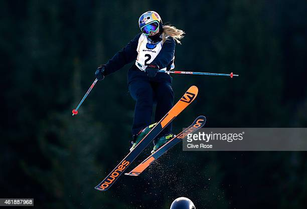 Katie Summerhayes of Great Britain competes in the Women's Freestyle Skiing Slopestyle Final of the FIS Freestyle Ski and Snowboard World...